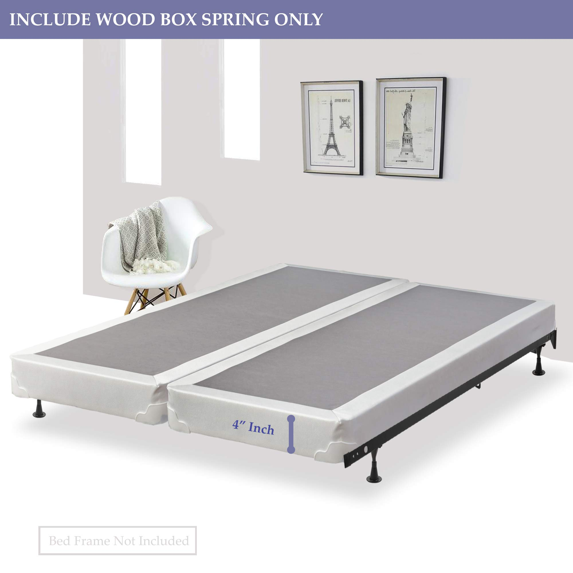 Spinal Solution, 4-inch Fully Assembled Split Box Spring/Foundation For Mattress, Queen Size by Spinal Solution