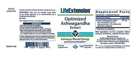 Amazon Com Life Extenson Ashwagandha Extract Veg Capsules 60 Count