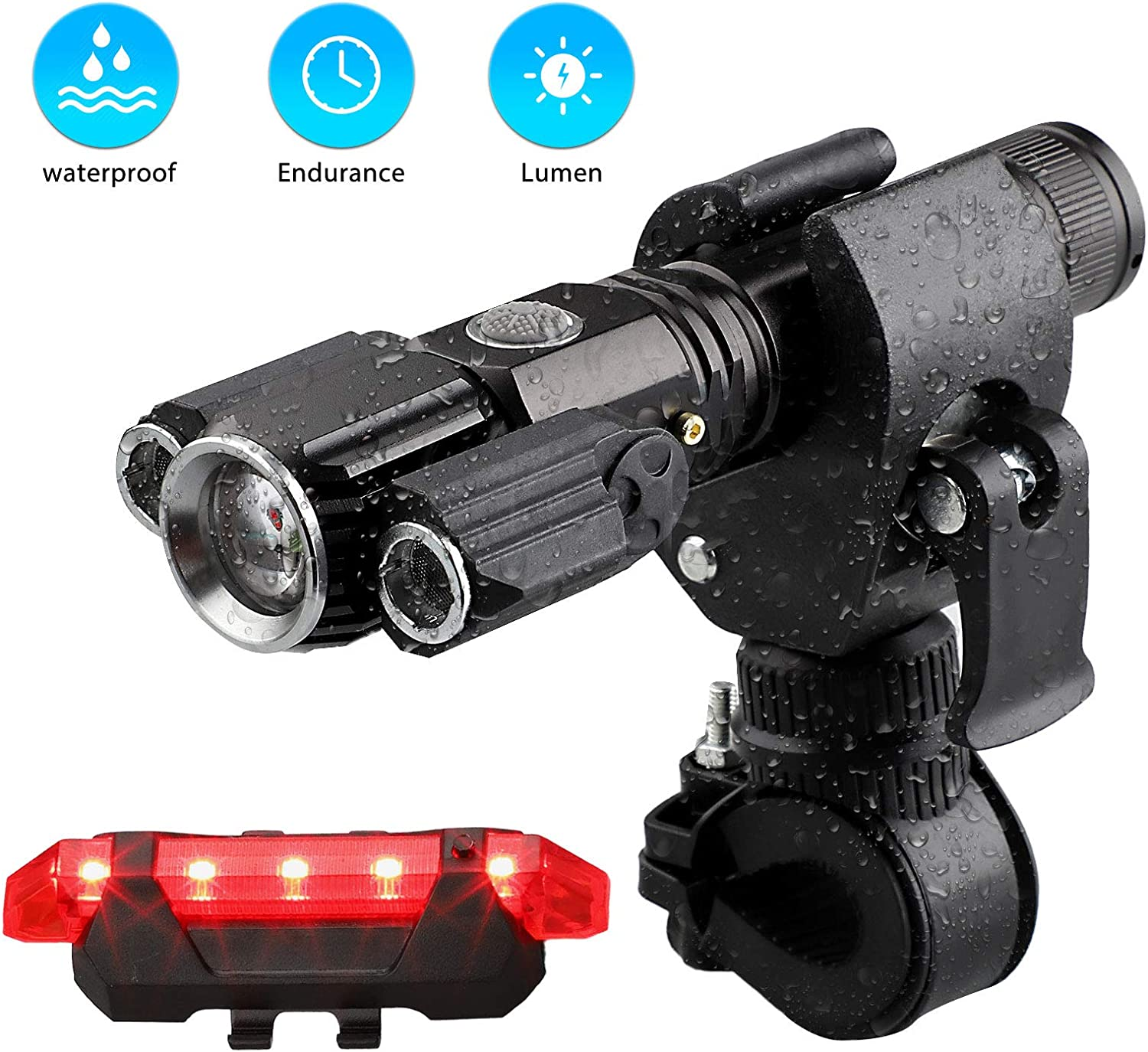 Linkstyle Bike Light Waterproof USB Rechargeable Bike Light Set,500 Lumens Super Bright Headlight Front Lights and Back Rear LED,4 Light Mode Fits All Bicycles, Mountain, Road