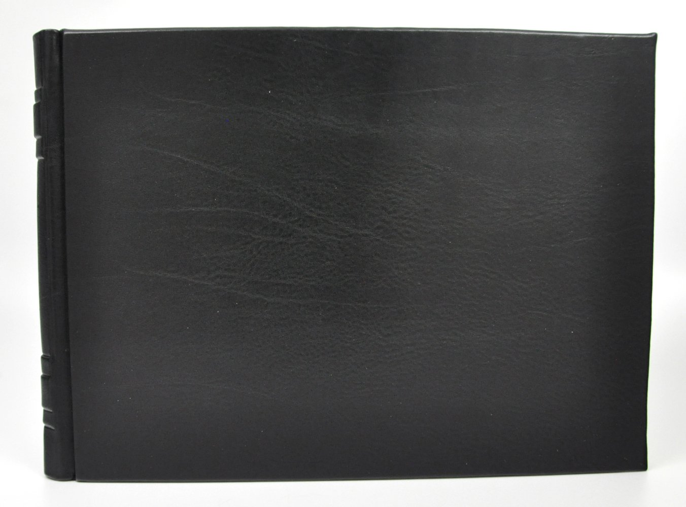 Italian Leather Guest Book from Fiorentina - Lined Pages - Black Calfskin