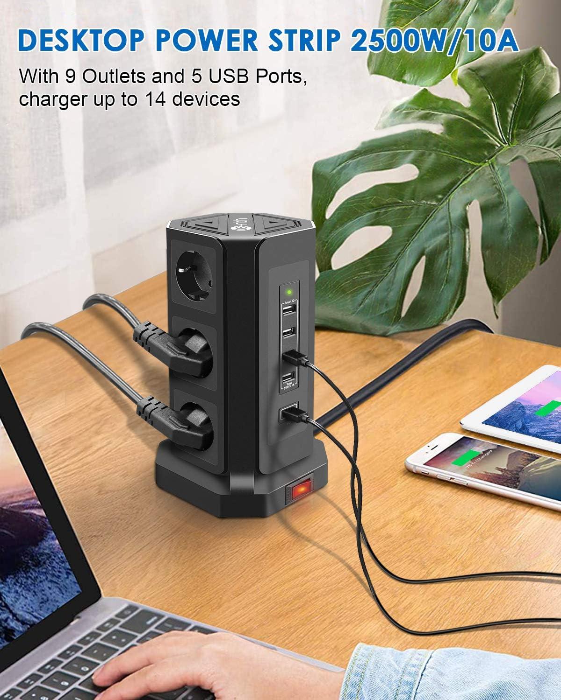 Bloc Multiprise avec 9 Prises et 5 Ports USB 2500W//10A Te-Rich Tour Multiprise avec 18W USB-C Charge Rapide Multiprise USB Verticale avec Cordon de 3 m pour Maison Bureau Interrupteur Noir
