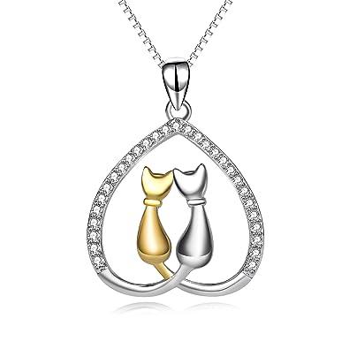 Collar YFN. Collar de plata de ley 925 para mujer con abalorio de dos gatos formando un corazón: Amazon.es: Joyería