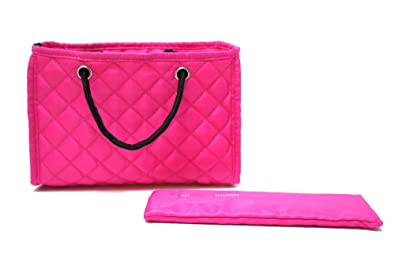 18c8fbb6f7570 Zoe Quilted Handbag Bag Purse Organizer Insert with Removable Base Medium  Fuchsia Pink