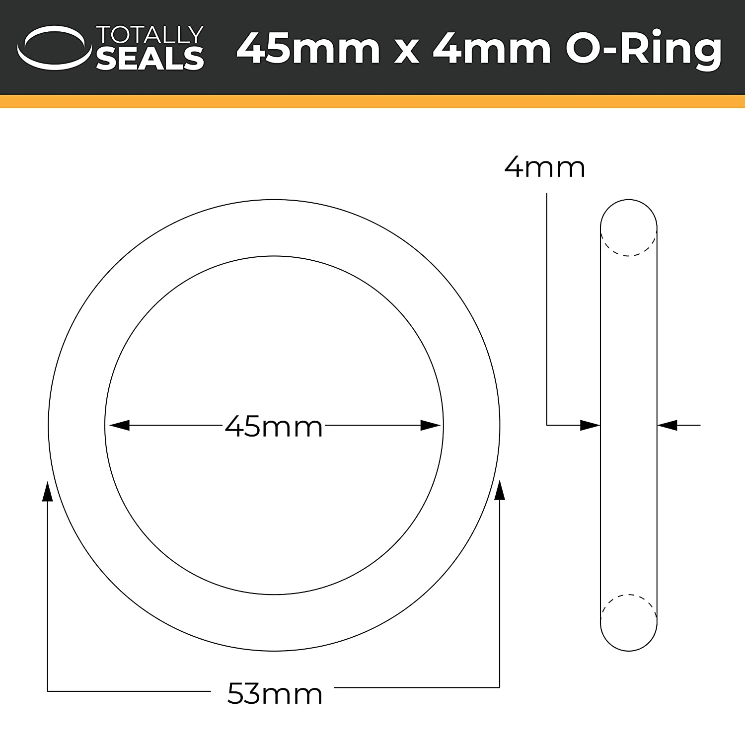 Nitrile Rubber O-Rings 70A Shore Hardness 53mm OD 45mm x 4mm Pack of 10