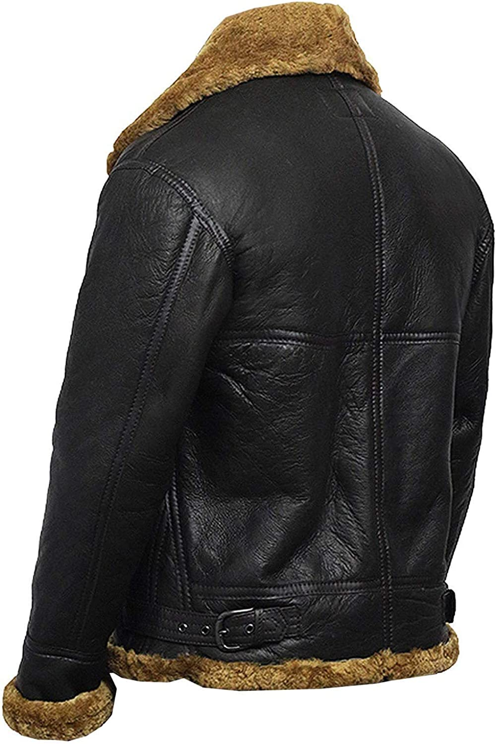 VearFit Flying Avaitor Shearling Real Black Leather Jacket for Men Exculsive Design Black