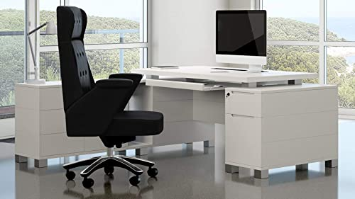 White Finish Ford Executive Modern Desk