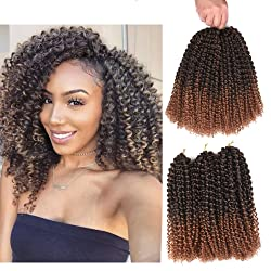 Refined Hair 12inch 24Strands 6packs/lot Ombre Malibob Jerry Curly Twist Hair Synthetic Crochet Braids Freetress Braiding Hair Extensions (T1B/30)