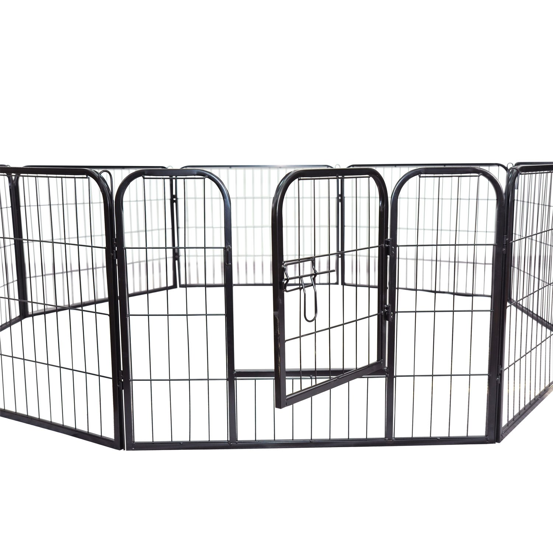 32 PawHut 8 Panel Pet Playpen HeavyDuty Iron Indoor Outdoor, 24inch, Black