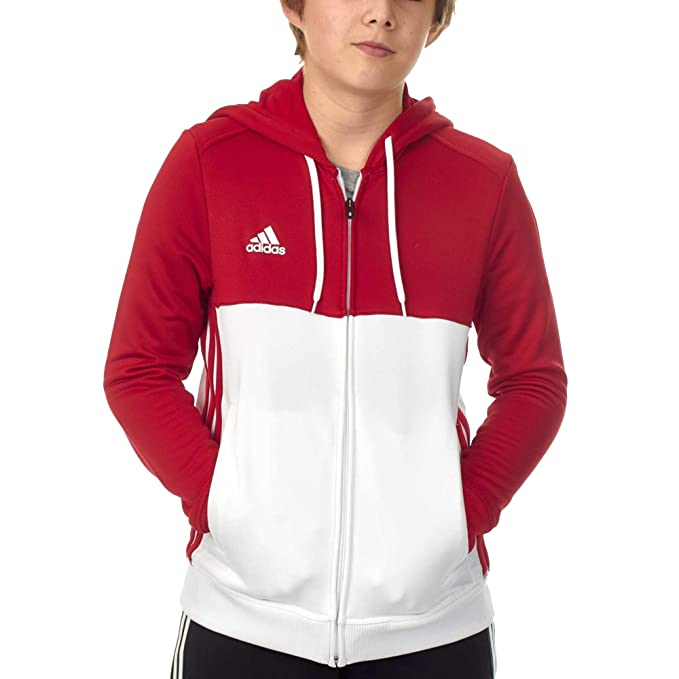 adidas T16 Kids Junior Full Zip Hoodie Sweatshirt Red
