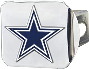 """FANMATS 22552 NFL Dallas Cowboys Metal Hitch Cover, Chrome, 2"""" Square Type III Hitch Cover,Blue"""