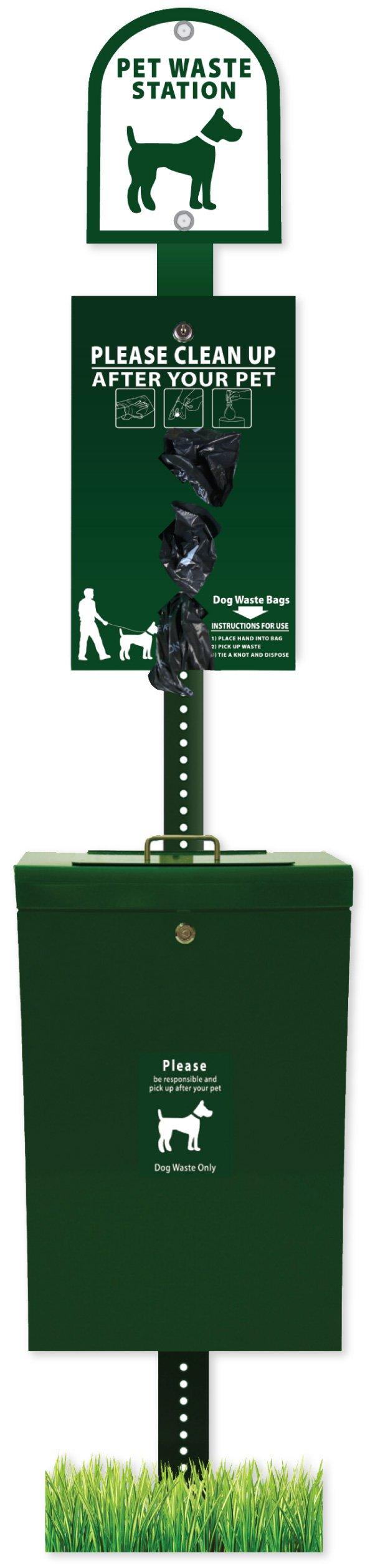 ZeroWaste Gladiator Dog Waste Station with Roll Bag Waste System