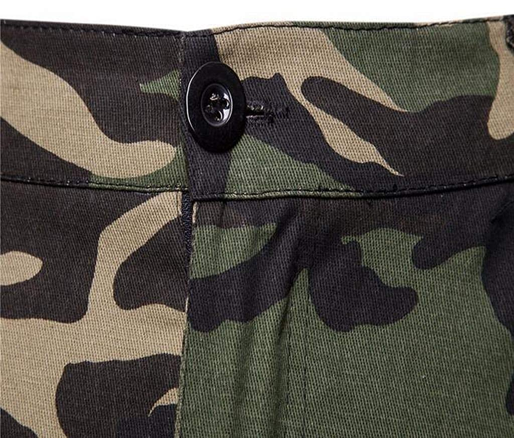 Fensajomon Mens Camo Casual Multi-Pockets Ripstop Jogger Pants Cargo Pants