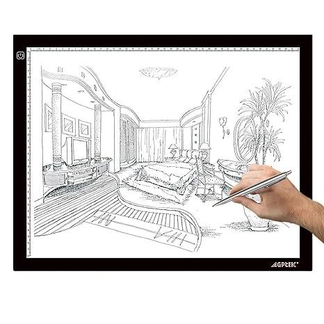 AGPTEK A3 Tableta de Luz, Drawing Pad Ultradelgada, Mesa de Luz de Dibujo LED con Panel Táctil Inteligente y Interfaz USB para Artistas, Dibujo, ...