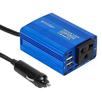 Uvistar 150W inversor de 12V a 230V con 2 cargador USB con conector mechero(Azul)