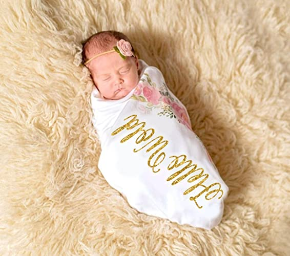 c1a50f6d6054 Amazon.com: Swaddle Blanket Girl Floral, Hello World Newborn Baby ...