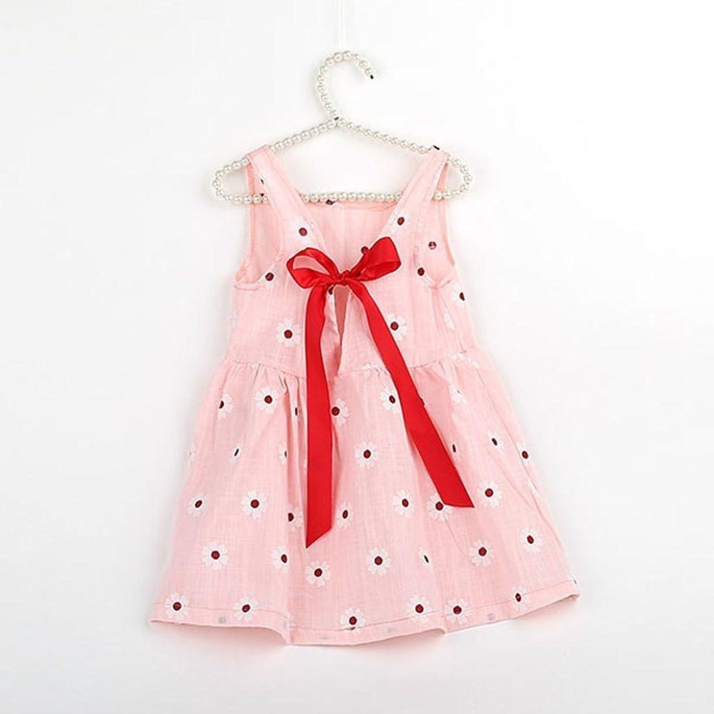 Internet Baby Kids Girls Sleeveless Print Bowknot Tutu Dress for 1-7 Years Old