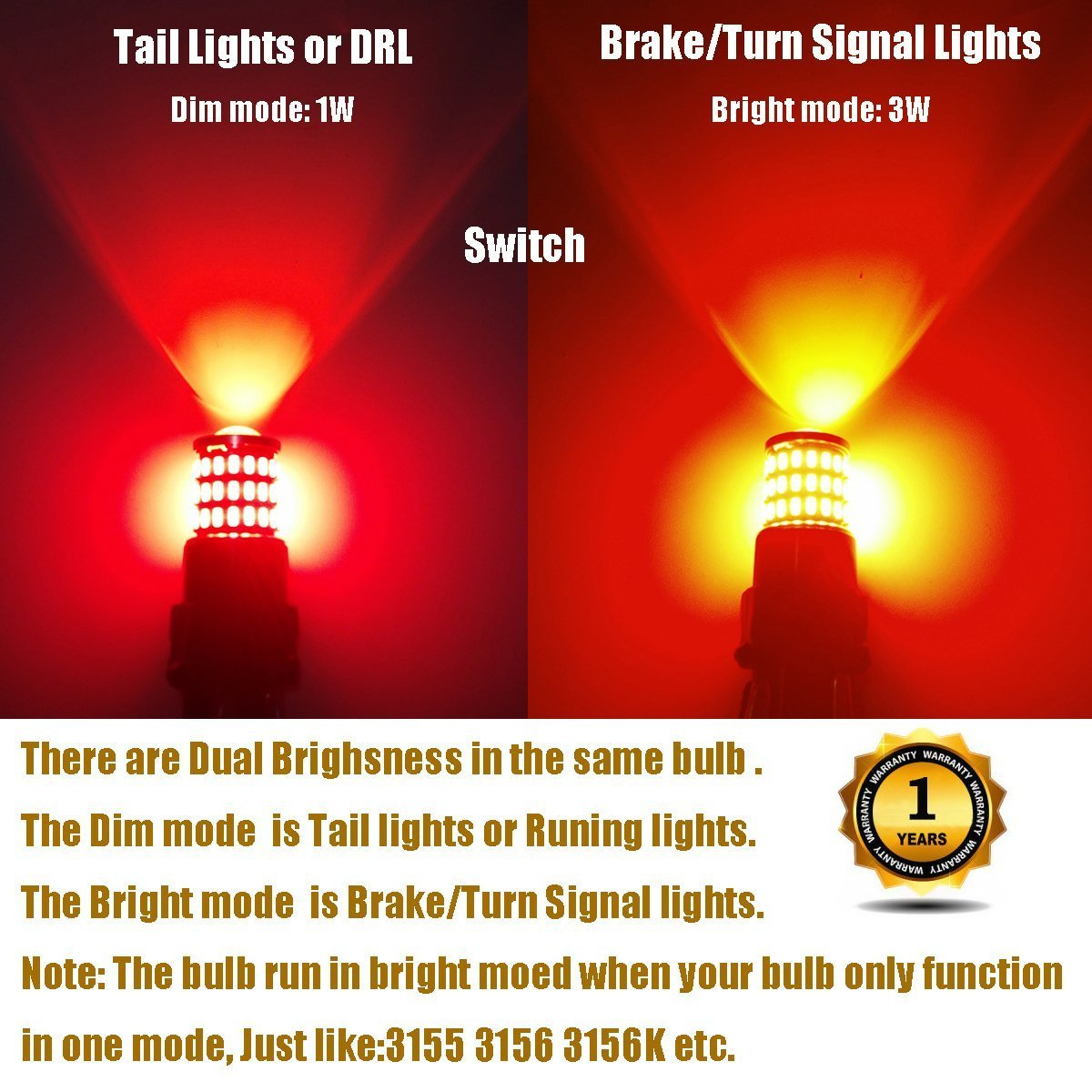 iBrightstar Newest 9-30V Super Bright Low Power Dual Brightness 3156 3157 3056 3057 LED Bulbs with Projector Replacement for Tail Brake Lights,Brilliant Red by iBrightstar (Image #3)