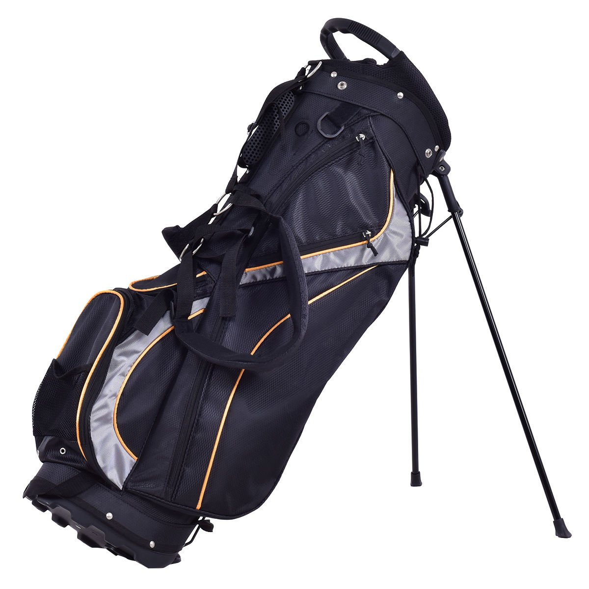 GHP Black Polyester Fabric 7-Way Divider 9'' Padded Golf Stand Bag with Shoulder Strap by Globe House Products (Image #1)