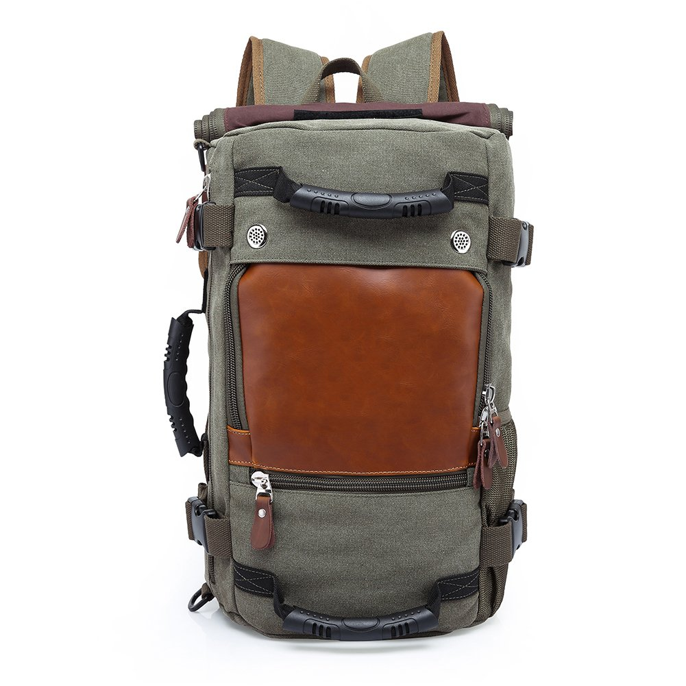 4 in 1 Canvas Laptop Backpack & Handbag & Vintage Messenger Bag & Luggage Bag Capacity Rucksack for Travel/Hiking/Camping/Trip (olive green)