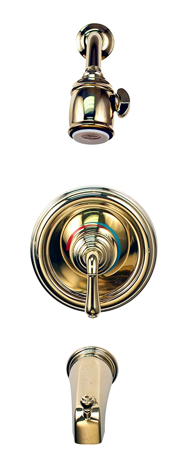 Moen Posi Temp #82250 Lever Handle Tub/Shower In Polished Brass      Amazon.com