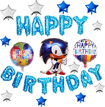 Amazon Com Lalife 17pcs Sonic The Hedgehog Balloons Birthday Party Decorations Happy Birthday Banner Foil Balloon For Kids Baby Shower Birthday Party Suppliers Toys Games