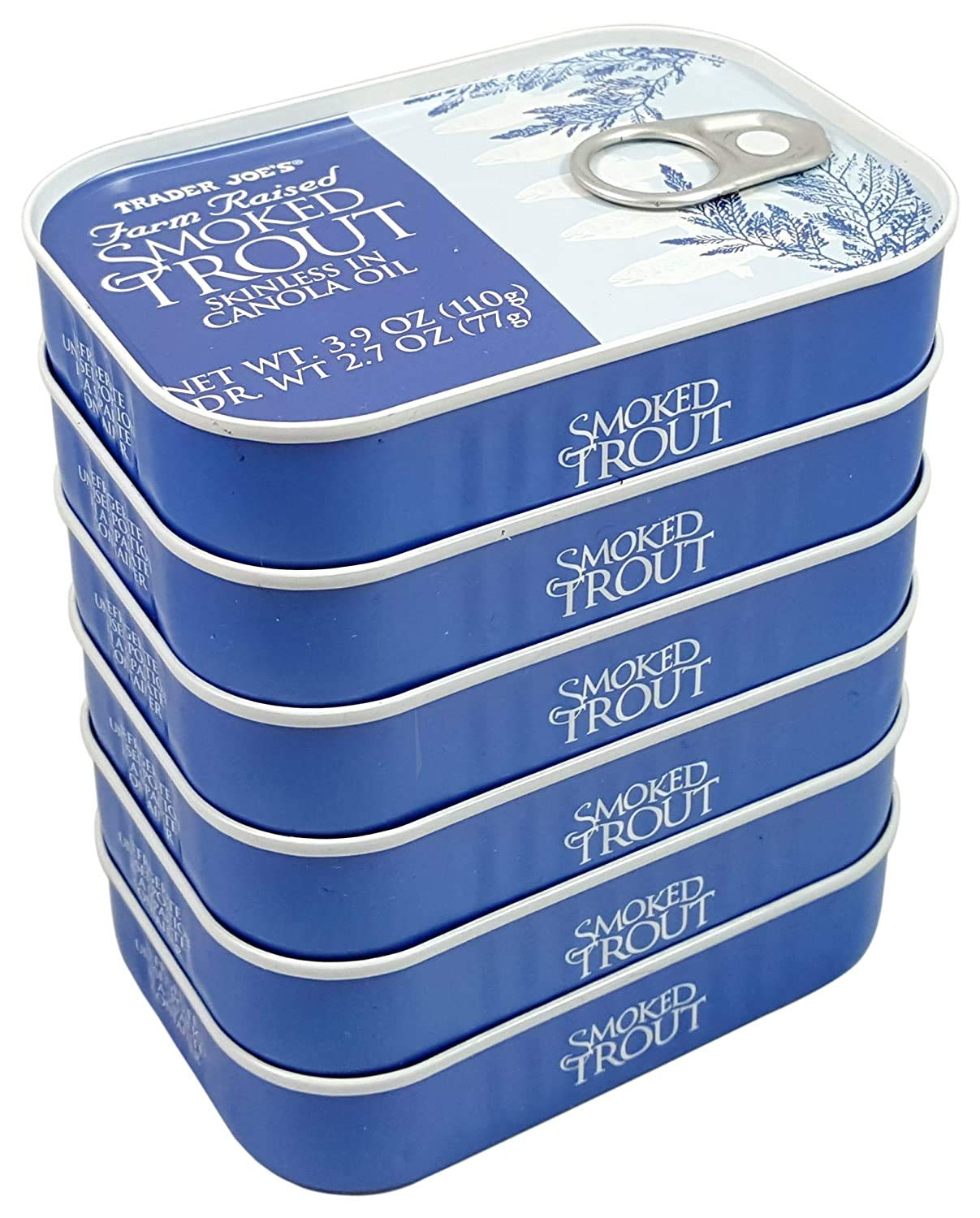Trader Joe's Smoked Trout Fillets in Oil Skinless 3.9 oz Tin, (6 Pack)