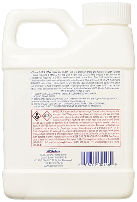 Amazon.com: ACDelco 10-4086 DOT 4 Hydraulic Brake and Clutch Fluid - 16 oz: Automotive