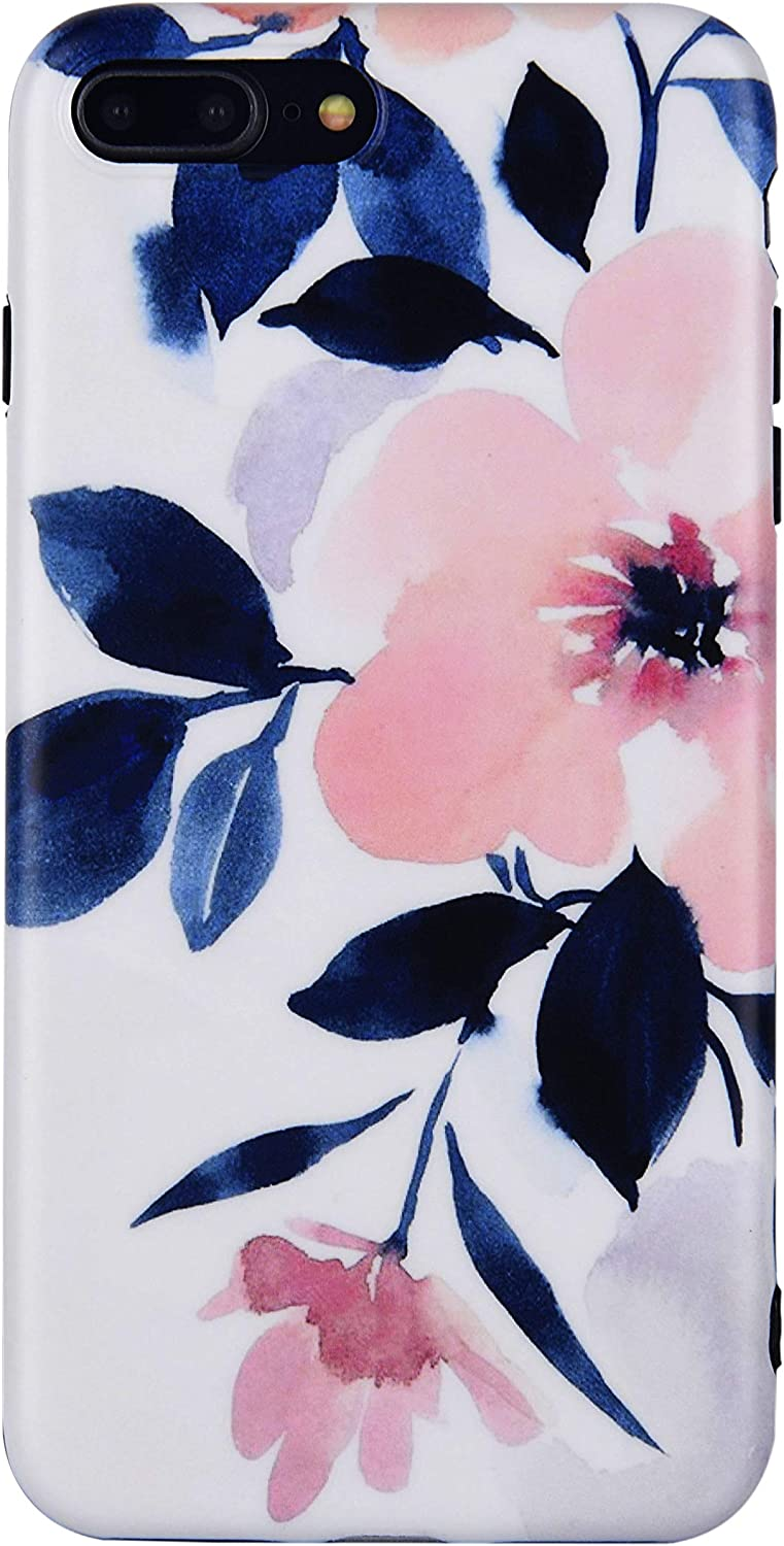 Flower Phone Case for iphone SE 2nd Generation 2020, iPhone 8 case, iPhone 7 Case, Peach Blossom TPU Floral Case Cover for iPhone SE 2/8/7 Art ink Painting Pink Rubber Back Case for Girls Women