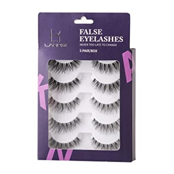 c1b1fbab543 Lankiz 3D False Eyelashes 5 Pairs Fake Eyelash Long Lashes with Volume for  Women's Make Up