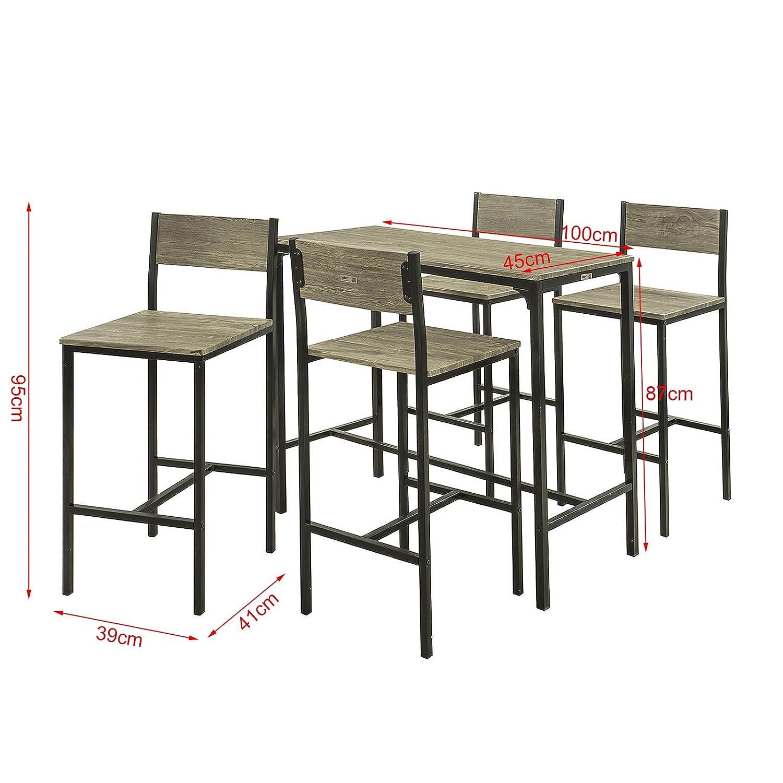 Set di mobili da Balcone,OGT14 SoBuy/® Set 5 Pezzi Tavolo con 4 sedie Alto