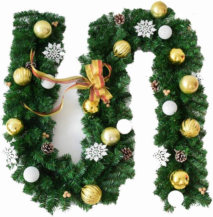 Guirnaldas de Navidad Copo de Nieve Cono de Pino Adornos Decoración Navidad Guirnalda Festiva Escaleras Chimeneas (270cm) (Color : Gold): Amazon.es: Hogar