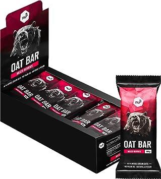 nu3 Barritas energéticas de avena – Sin aceite de palma (15x 100 gr) – Deliciosa flab jack bar – Energía vegana con 4,2g de fibra – Para montañismo, ...