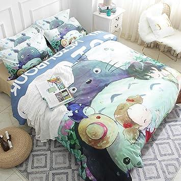 Zhouing Anime Mein Nachbar Totoro Cartoon Bettwäsche Set 100