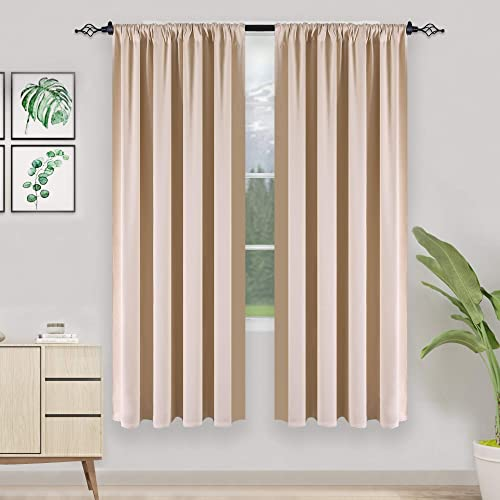 HUTO Cream Beige Curtains 72 Inches Long Blackout Thermal Insulated Window Treatment Curtains Panels Drapes for Bedroom Living Room 52 Inches Width Set of 2 Panels