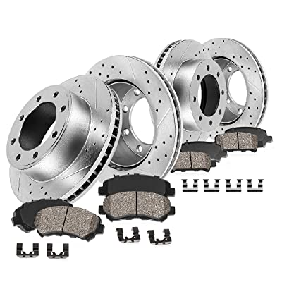 Callahan CDS02656 FRONT 355mm + REAR 360mm D/S 8 Lug [4] Rotors + Brake Pads + Clips [ fit Chevy Silverado Sierra 2500 ]: Automotive