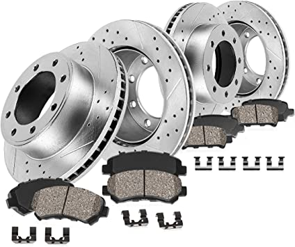 2011 2012 2013 2014 For Ram 3500 Coated Drilled Slotted Front Rotors and Pads