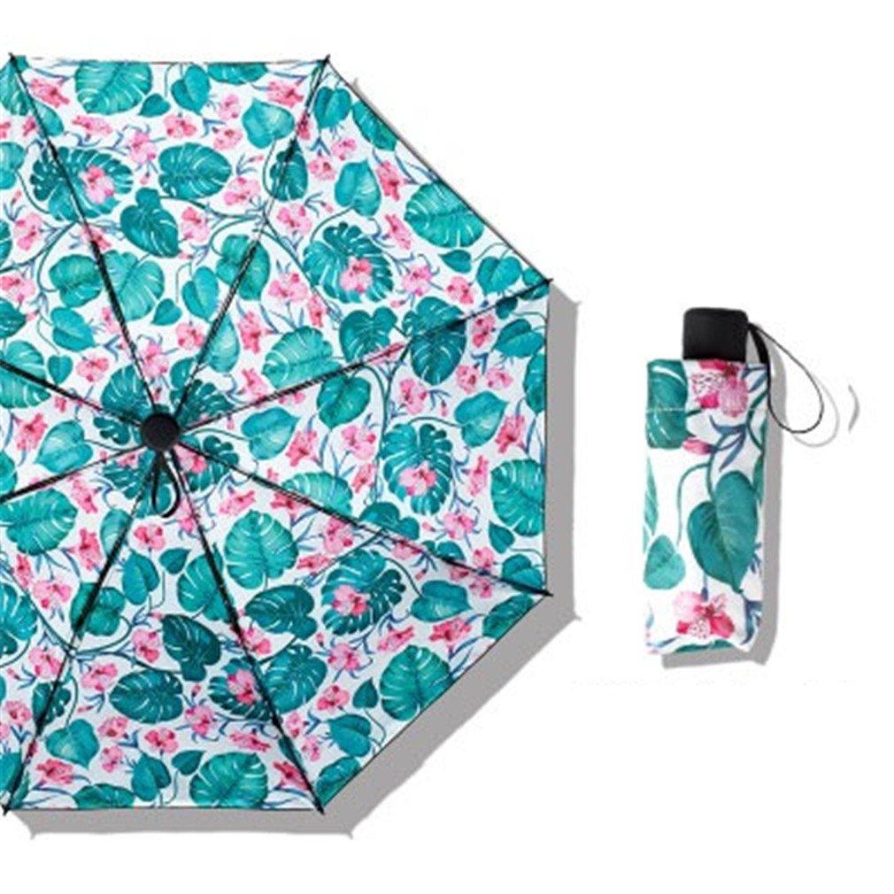 Guoke Compact Mini Vinyl Umbrellas Sunscreen Anti-Uv Light Pocket Fold Umbrella Of Fine White - Flower