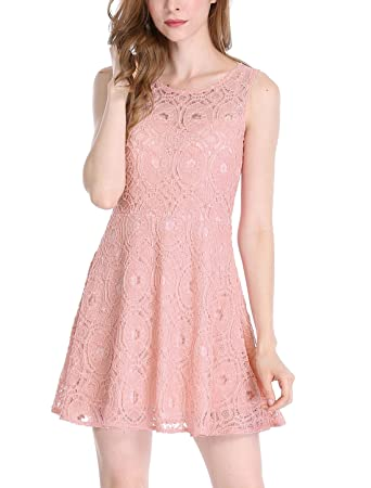 03b11ed640e89 Medium , Pink : Allegra K Women's Sleeveless Semi Sheer Yoke Floral Lace  Mini Flare Dress