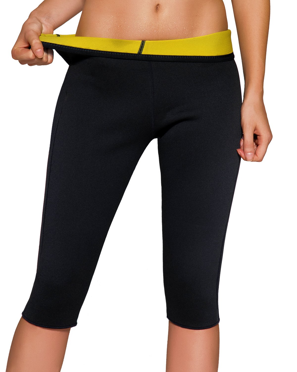 Roseate Women's Slimming Pants High Waist Body Shaper Thermo Sweat Workout Capri Yellow S