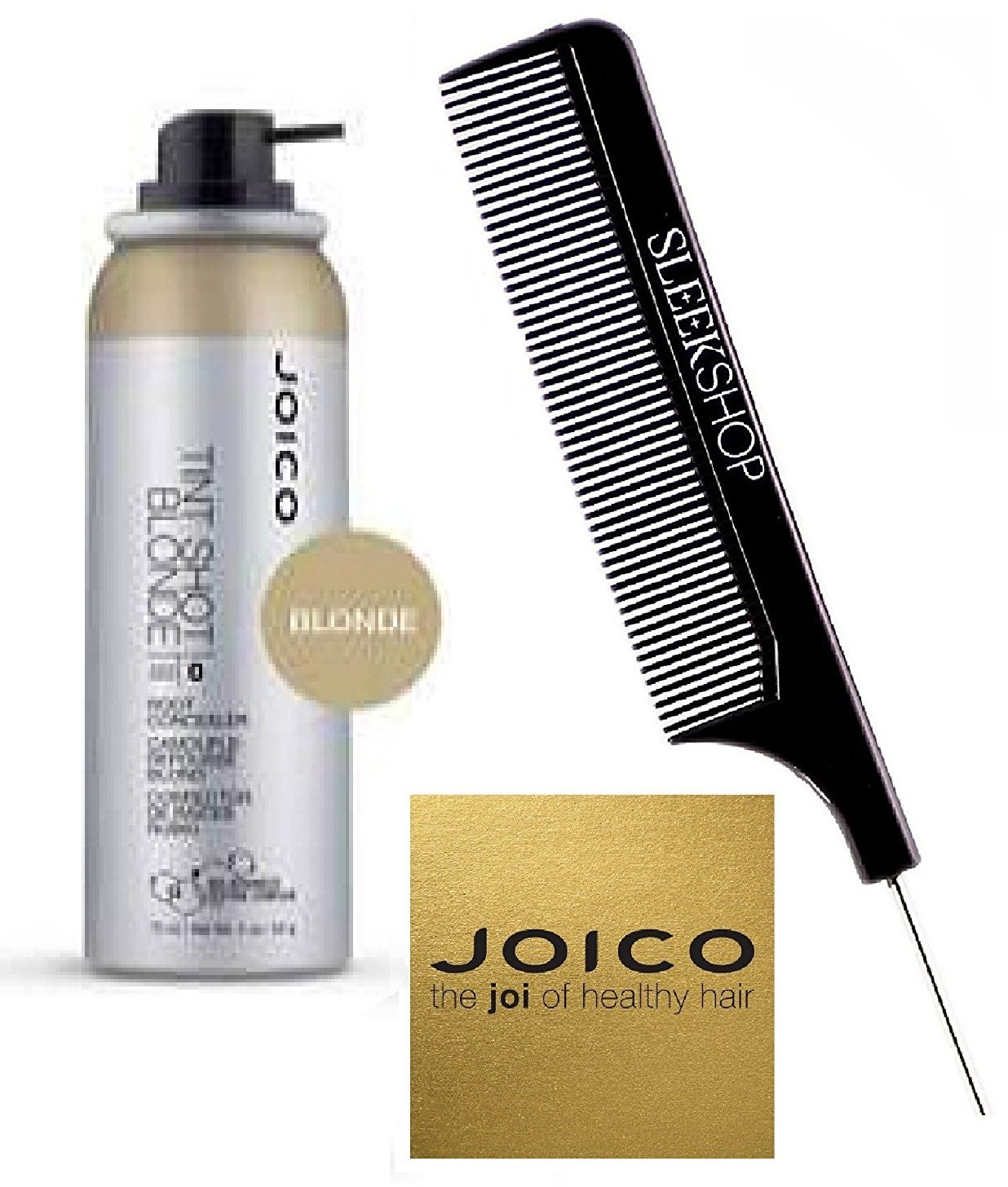 Joico TINT SHOT Root Concealer, Bio-Advanced Peptide Complex (with Sleek Steel Pin Tail Comb) (Blonde , 2 oz)