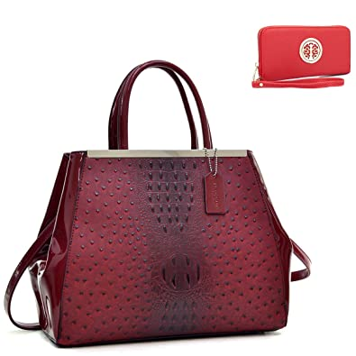 882c4ceb17 MMK Collection Autumn and Winter Medium Structured Ostrich PU Leather Women  Satchel and Top-Handle