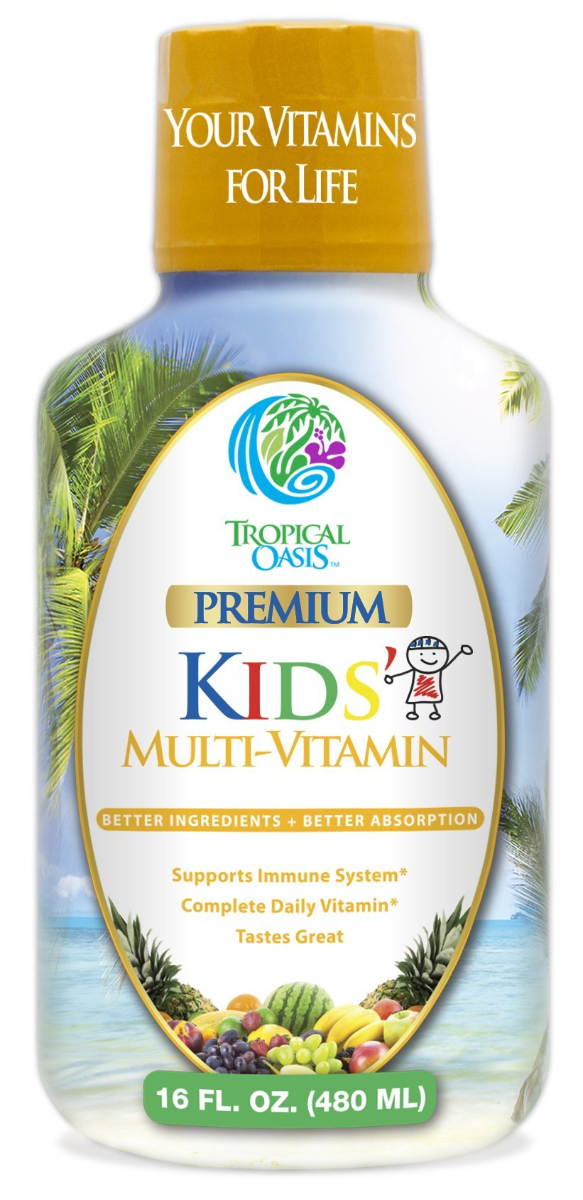 Premium Children's Liquid Multivitamin & Superfood -100% DV of 14 Vitamins for Kids Ages 4+. Great Tasting, Non-GMO, No Sugar - Max Absorption - 16 oz, 32 Serv
