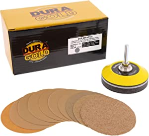"Dura-Gold - Premium- 3"" Disc Variety/Assortment Pack (40,60,80,120,220,320,400,600,800,1000) - 3"" Gold Hook & Loop Discs - Box 50 Sandpaper Discs for Automotive, Woodworking with Bonus Backing Plate"