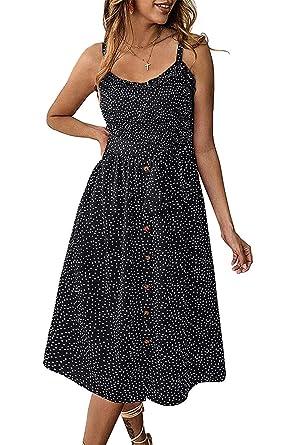 da09600080c Grace's Secret Womens Summer Dress Casual Boho Strap Button Down Swing  A-Line Midi Dress