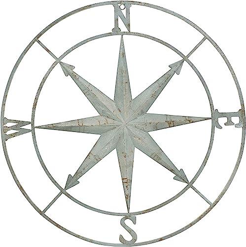 Creative Co-op Decorative Round Metal Compass Wall D cor, 41 , Aqua