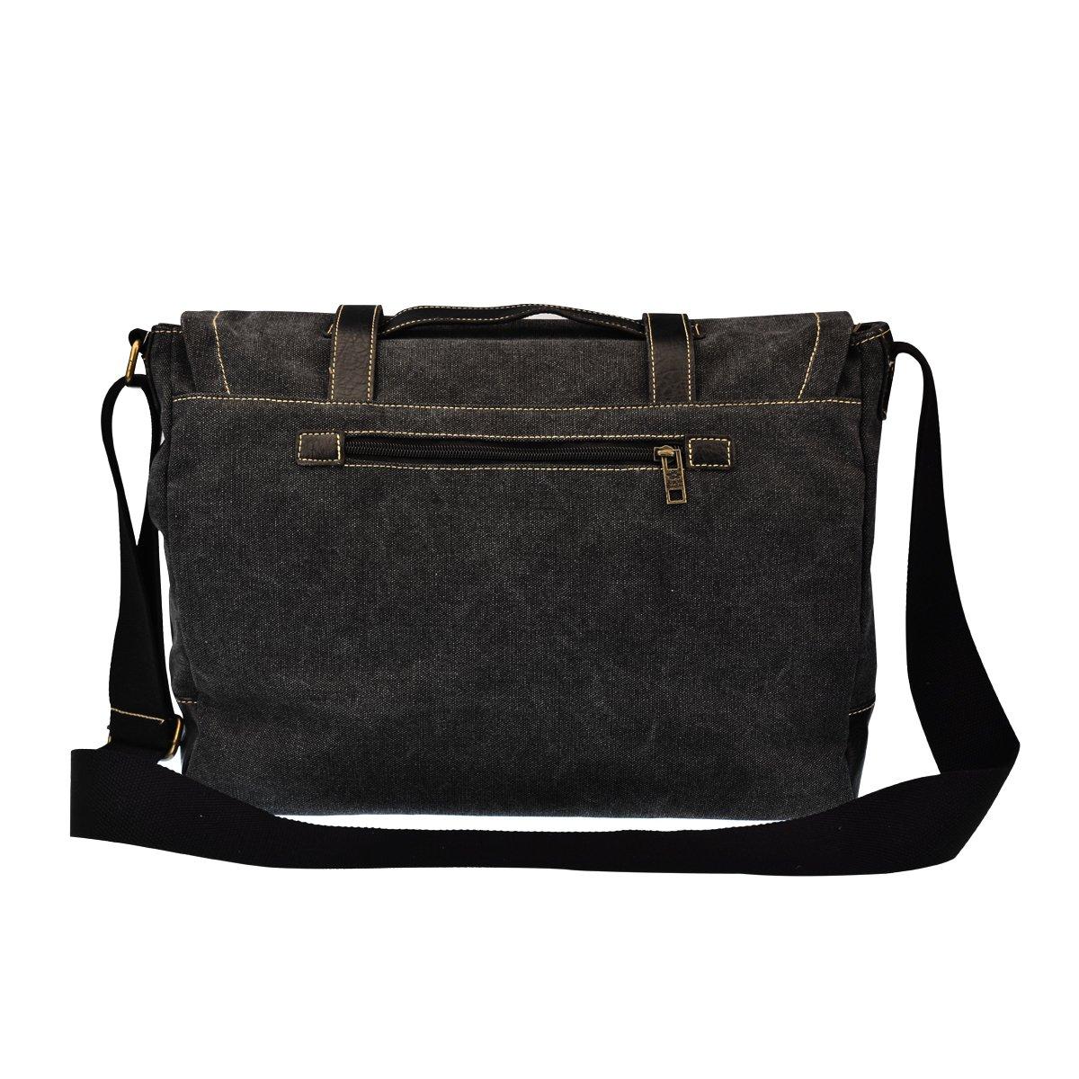 b6537cecc7b Amazon.com  DGY Canvas Large Shoulder Laptop Bag Vintage Messenger Bag  Crossbody Bag for Men G00261 Black  Computers   Accessories