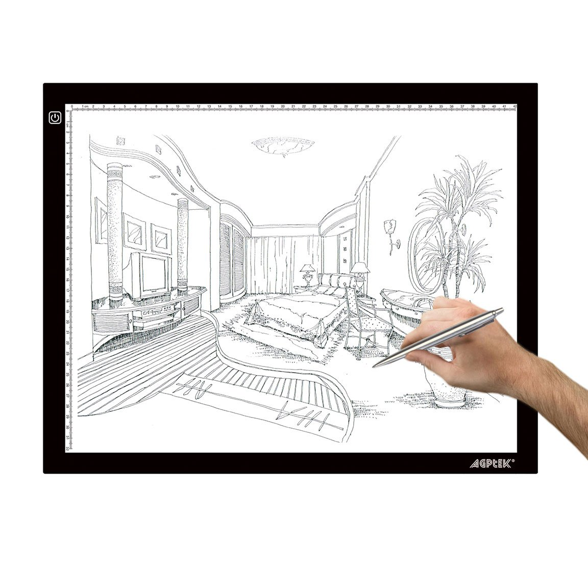 AGPtek A3 Ultra-thin USB Power LED Artcraft Tracing Light Pad Light Box with Brightness Control USB Wall Adapter For Artists, Drawing, Sketching, Animation, Diamond Painting, X-Ray View, Tattoo, Quilting by AGPTEK