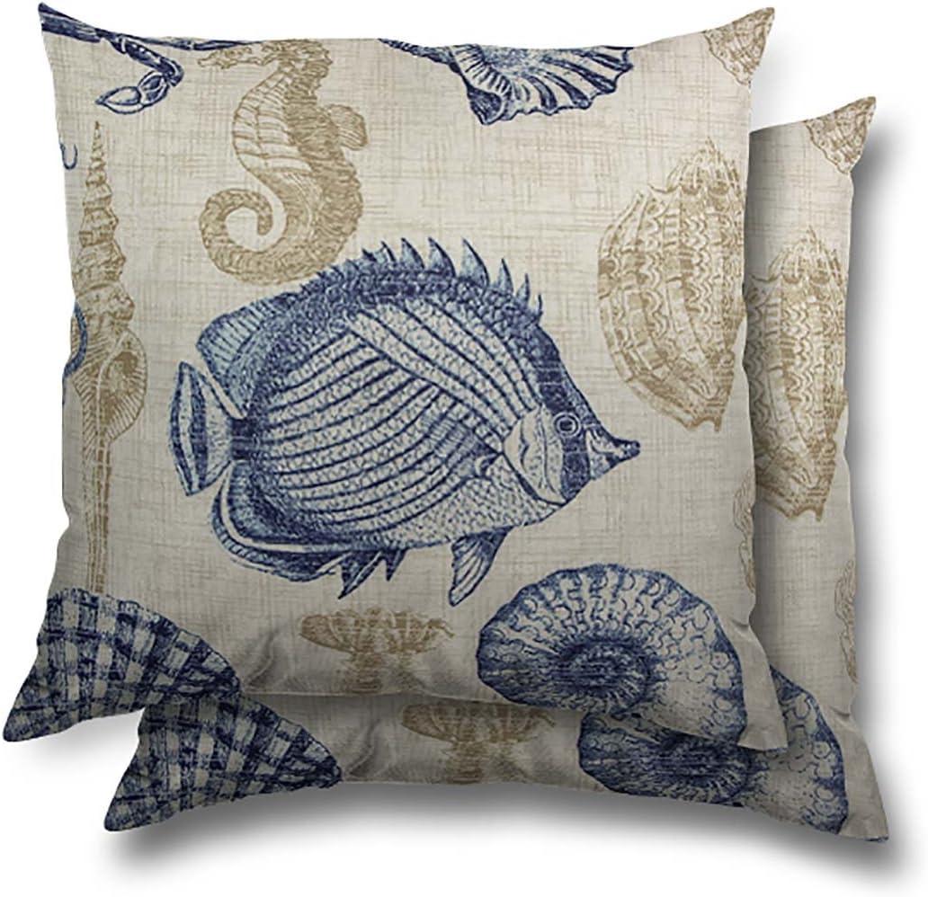 "Stratford Home 17""x17"" Indoor / Outdoor Throw Pillows, Sealife Marine"