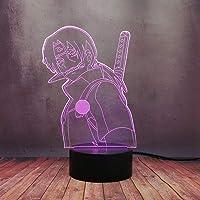 Anime Legend Naruto Night Light Optical Desk Lamp, Uchiha Sasuke Itachi LED 3D Table Lamp, USB 16 Colors Dimmable Remote…