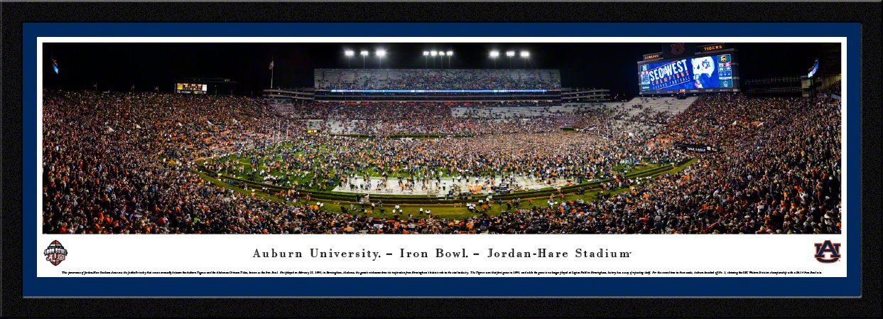 Auburn Tigers Football (Iron Bowl 2017) - Blakeway Panoramas Poster with Select Frame and Single Mat